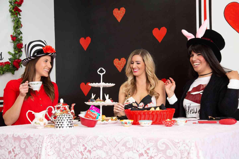 women at a tea party in queen of hearts tea room in las vegas