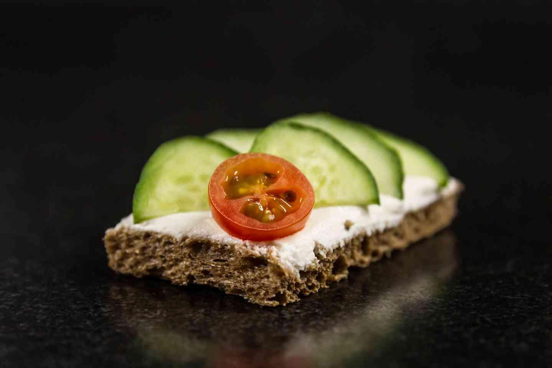 Crisp English Cucumber on Herbed Cheese with Dark Rye