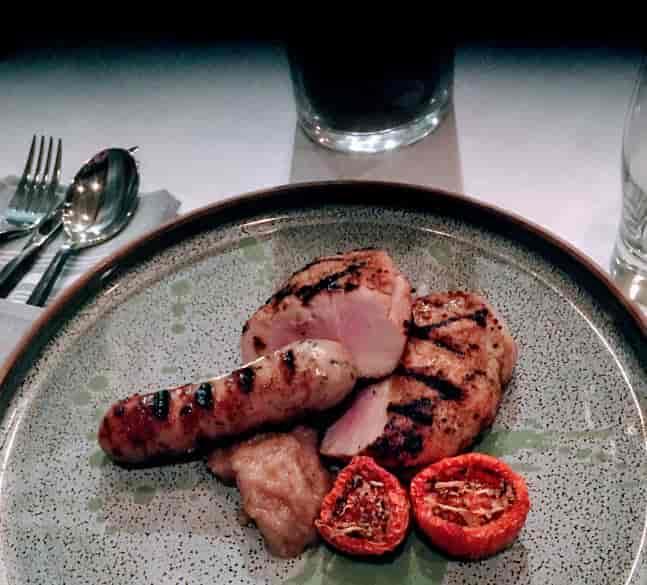 Dry Rubbed Pork Flat Iron & Rabbit Sausage