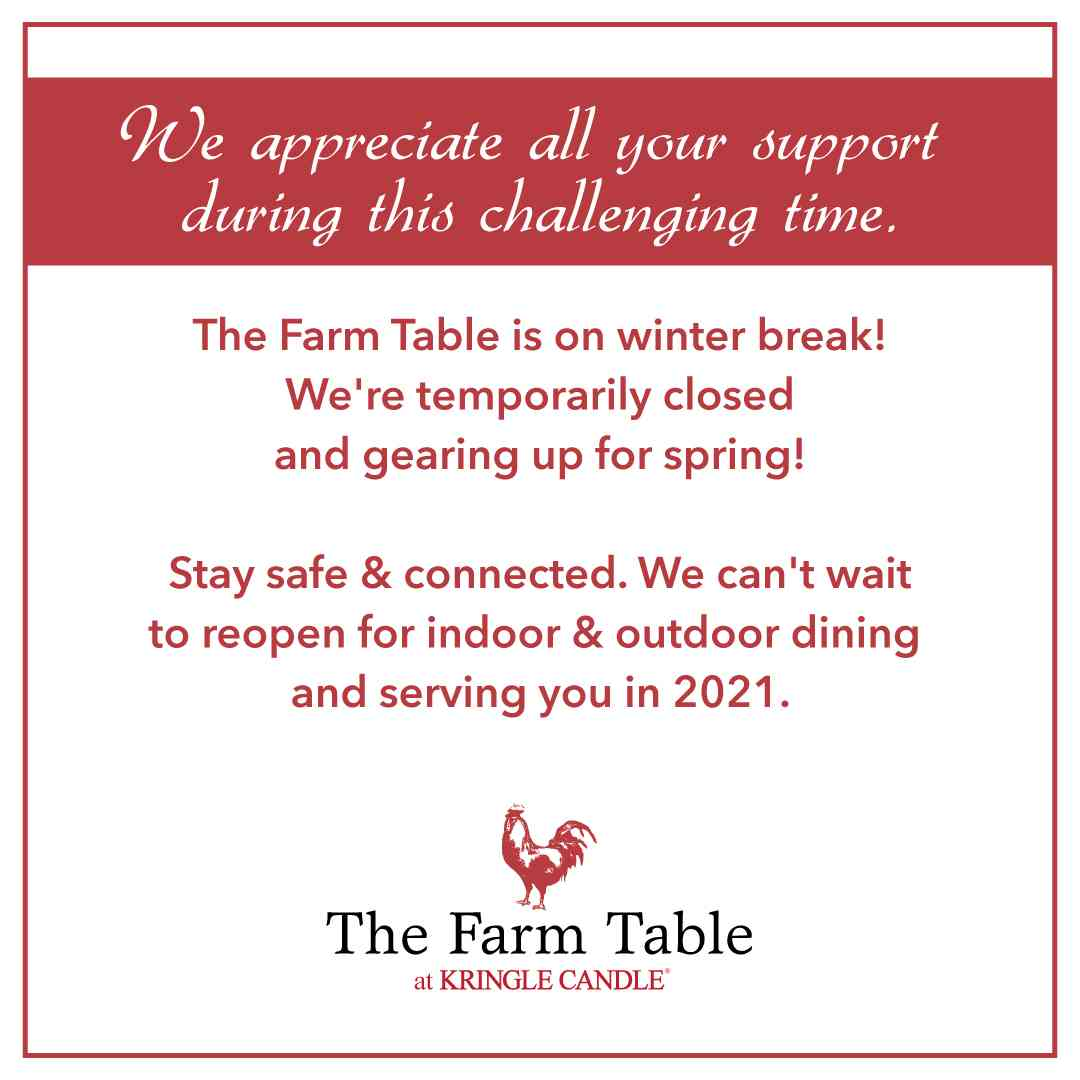 The Farm Table is on winter break!