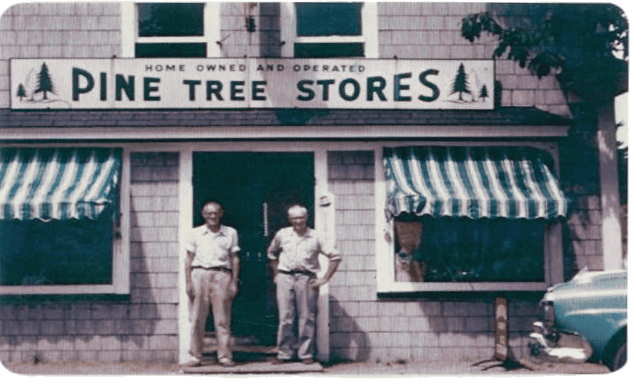 Salisbury brothers in front of the Pine Tree Stores, circa 1952