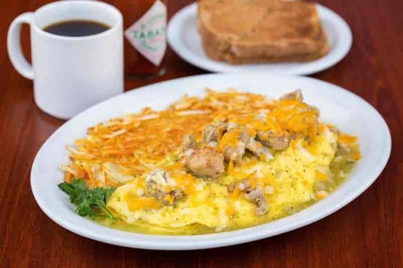 Homemade Pork Chile Verde Omelette