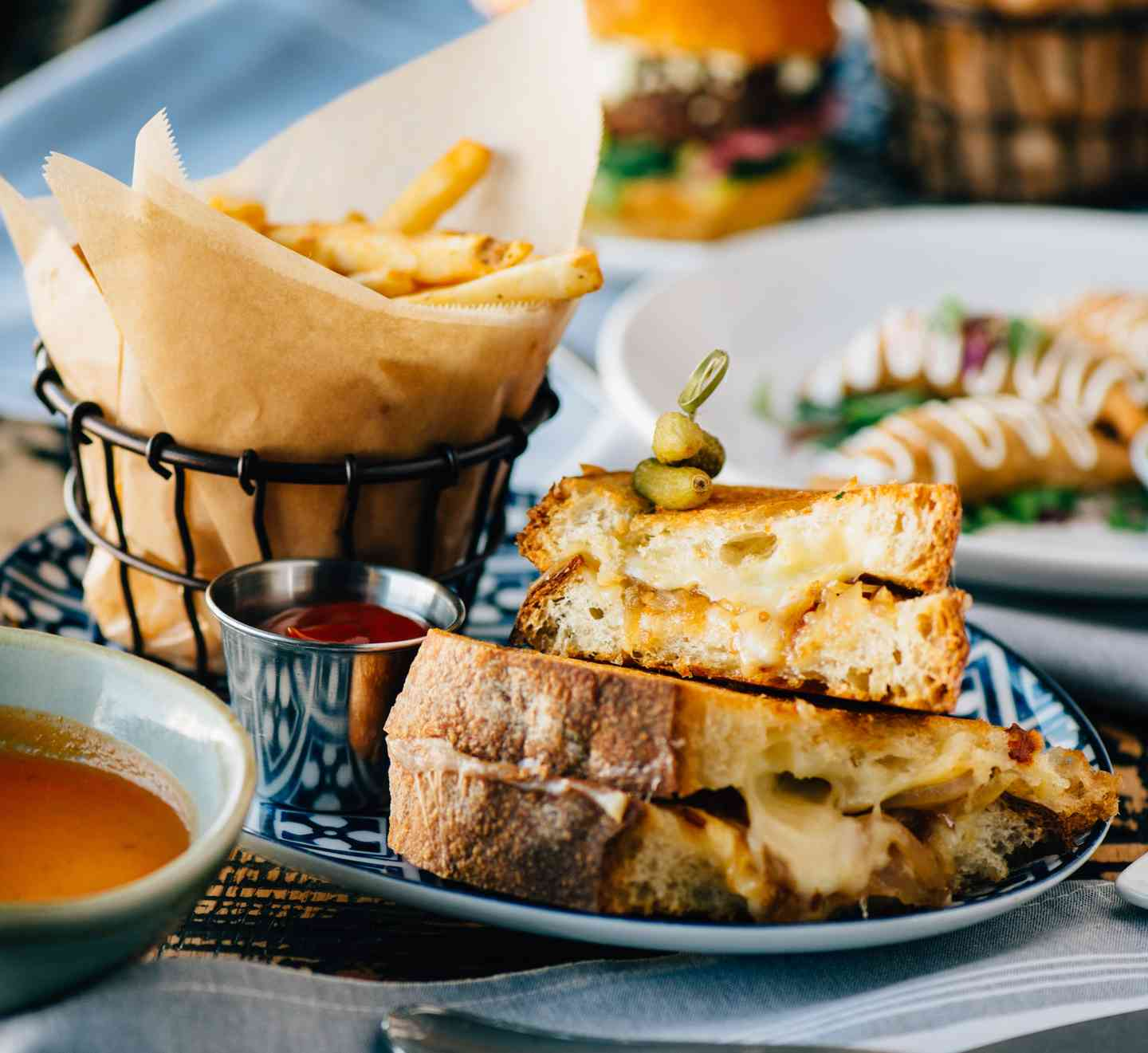 Fancy grilled cheese with fries