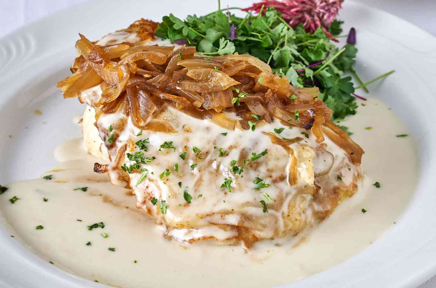Pan Seared Chicken topped with Beurre Blanc Sauce