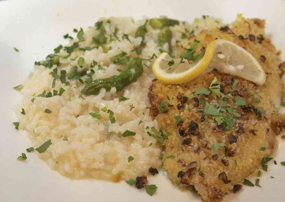 Pecan Crusted Sole with Risotto
