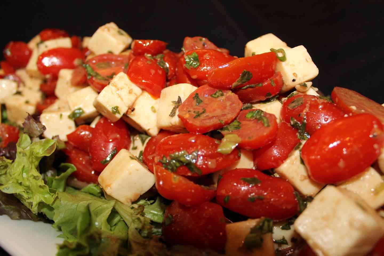 Balsamic Tossed Tomato, Basil & Mozzarella Bruschetta