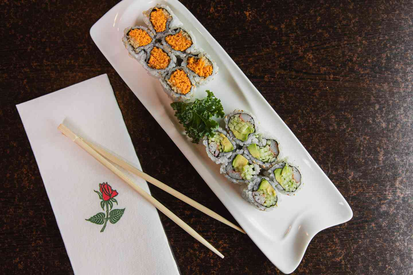 California and spicy crab sushi rolls