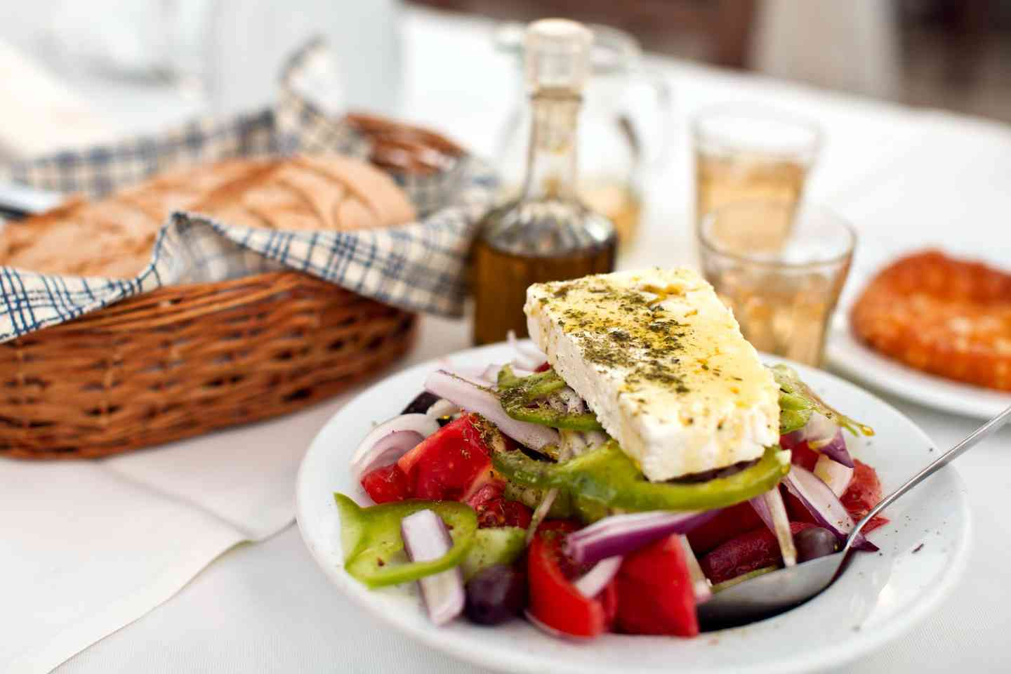 greek spread of food with bread