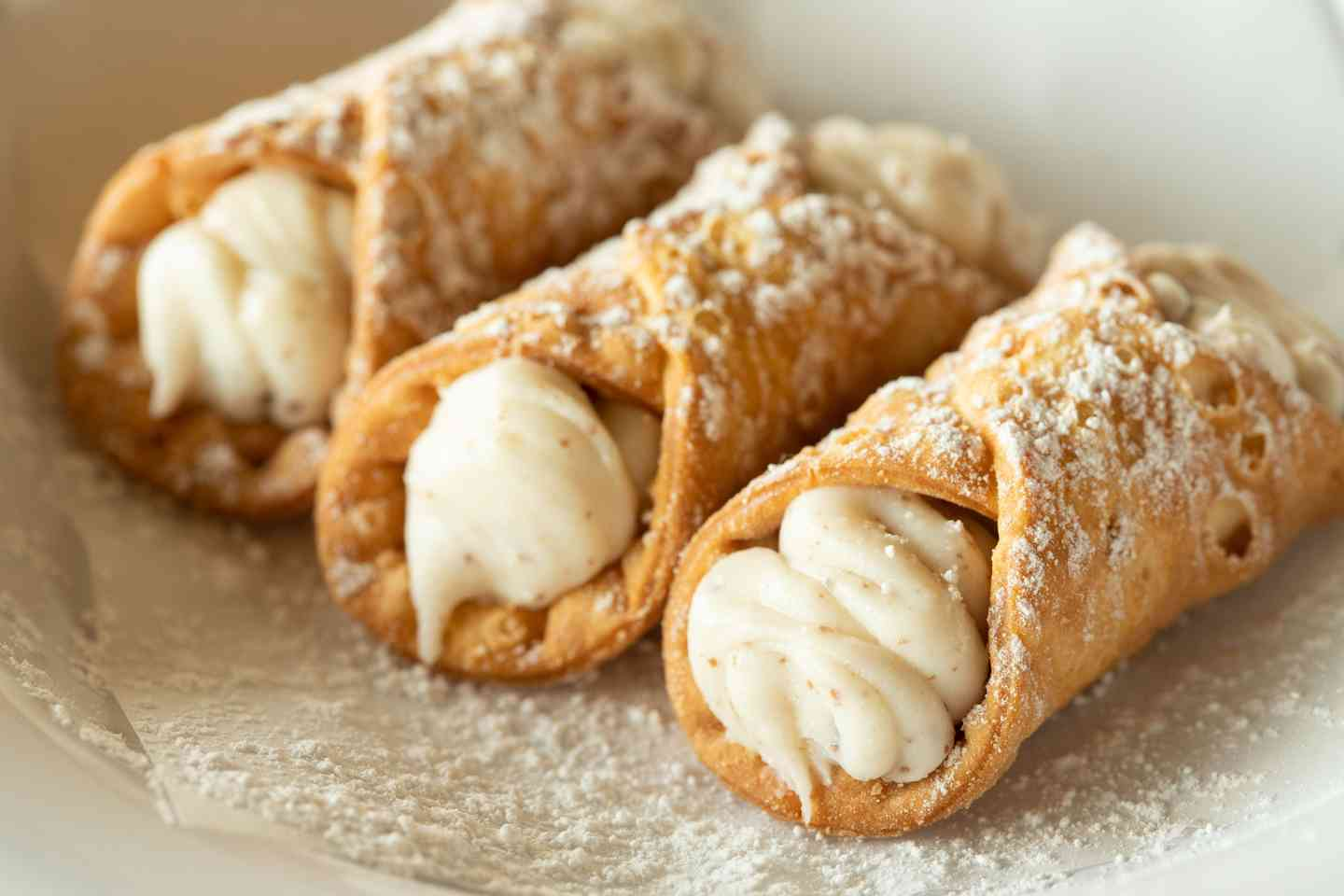 Cannoli Covered with Powdered Sugar