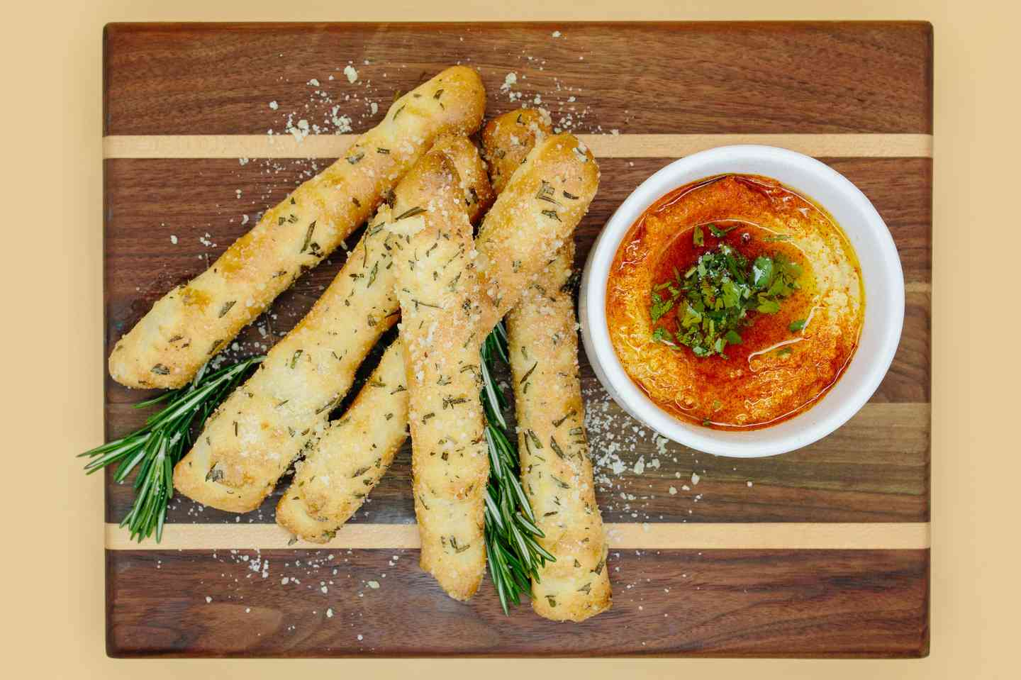 Rosemary Garlic Breadsticks and Hummus