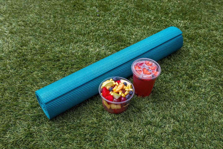 yoga mat and fruit