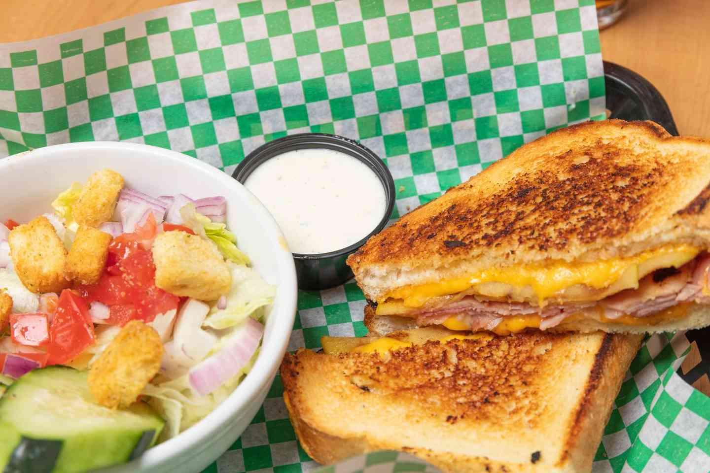 ham and cheese melt and salad