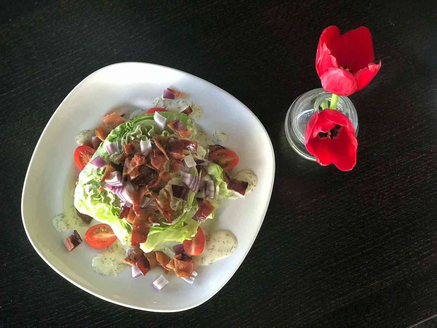 *Baby Iceberg Wedge Salad w/ Smoked Bacon, Red Onions, Cherry Tomatoes & Blue Cheese Dressing