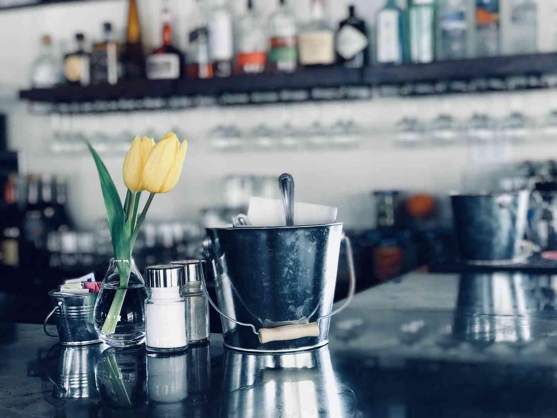 coffee and tulip vase