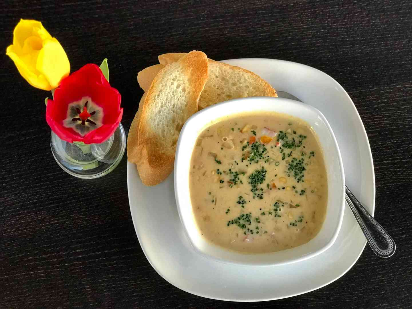 Cup of Lobster Chowder w/ Grilled Cheese Sandwich