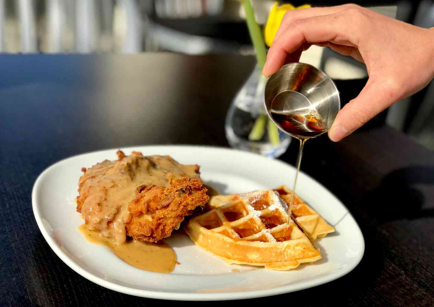 "Waffle Lady's Crispy Fried ""Free Range"" Chicken 'n Waffles w/ Pan Gravy and Real Maple Syrup"