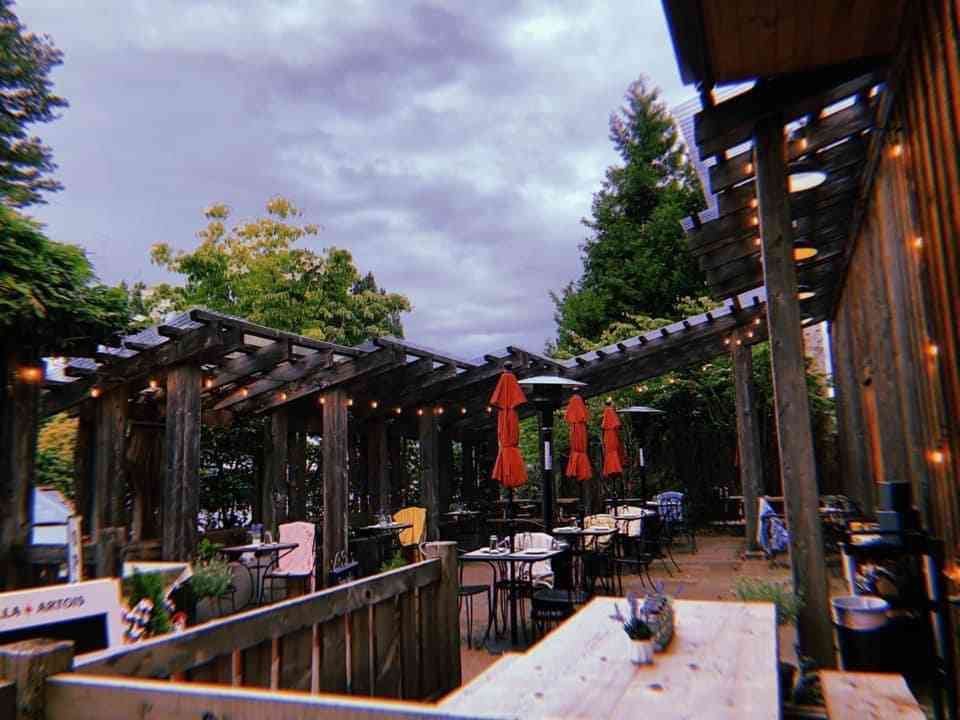 Exterior outdoor dining at Cafe Arta & Pub at Third Place