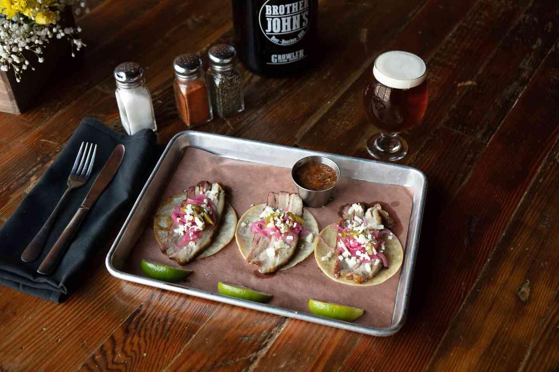 Three Brisket or Pork Belly Tacos