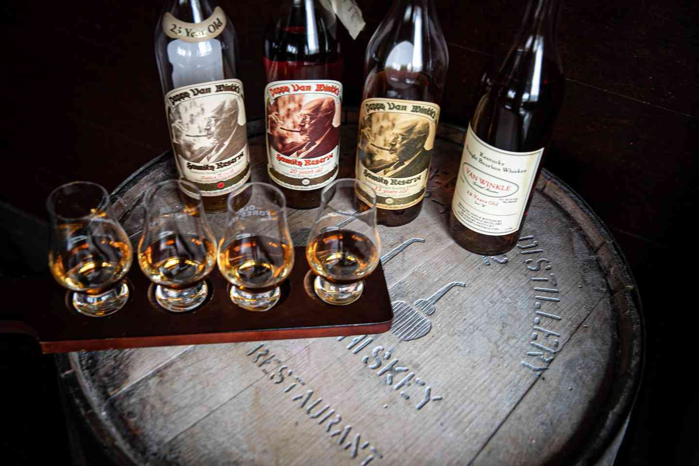 Pappy van Winkle bourbon whiskey flight