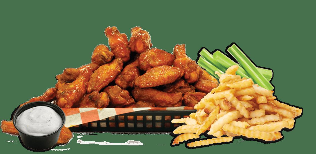 50 Pcs Wings, Family Box Fries