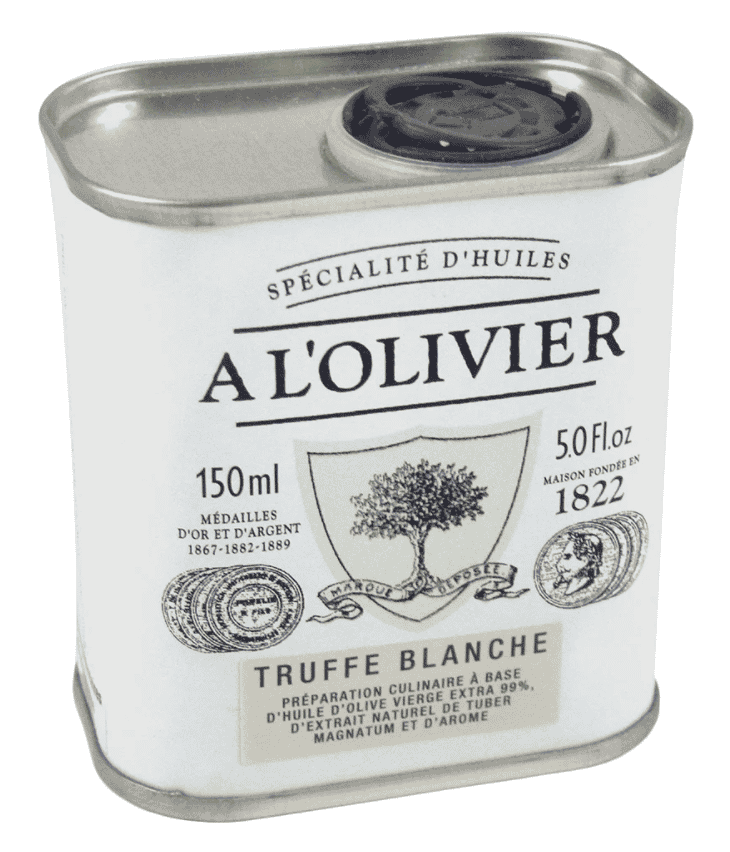 A L'OLIVIER EXTRA VIRGIN OLIVE OIL INFUSED WITH WHITE TRUFFLE: WHITE TIN