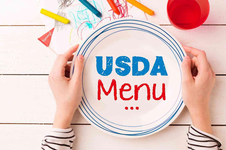 USDA Menu written on a plate