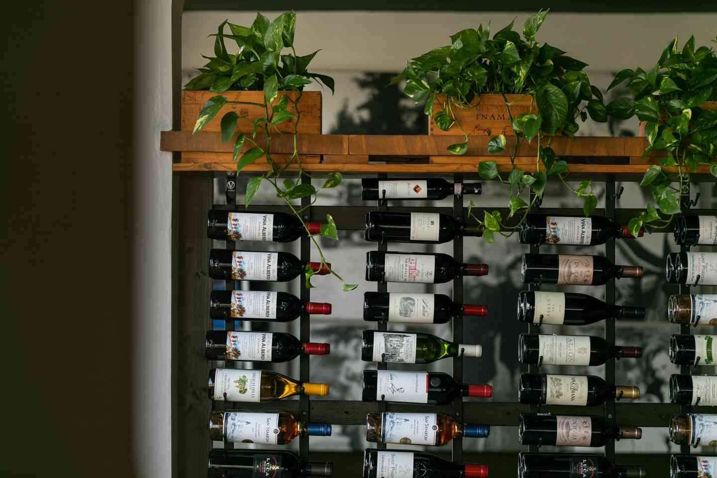 Interior decor with a well stocked wine rack
