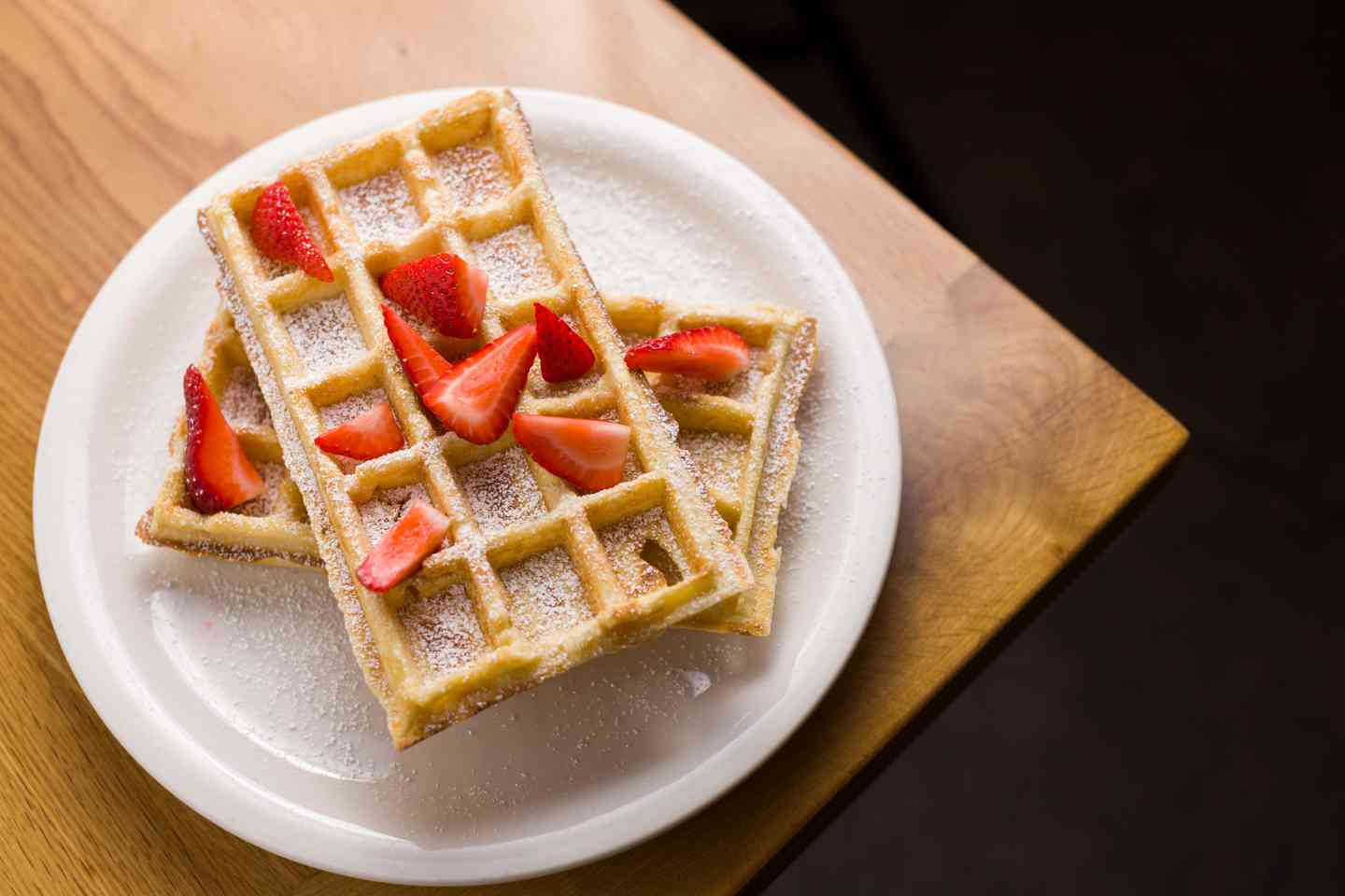 Waffles + Powdered Sugar + Strawberries