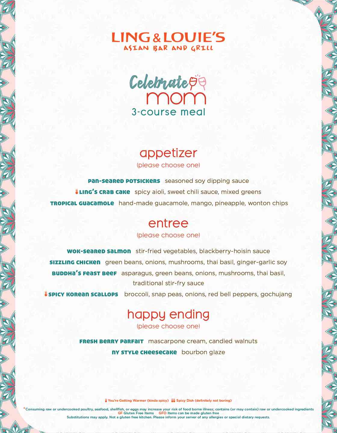 Mother's Day Dinner Menu Image