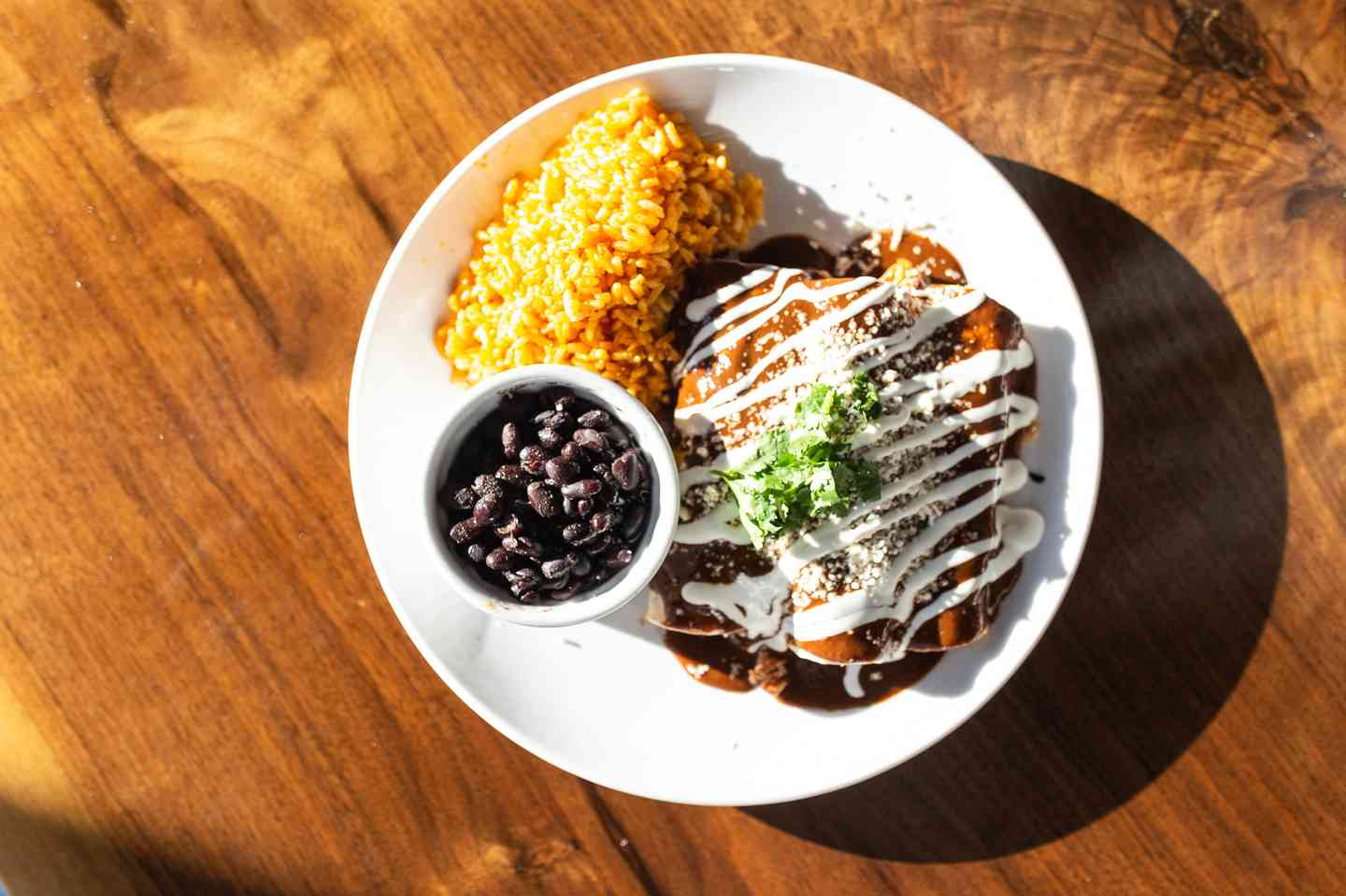 Chocolate Mole Tinga Enchilada