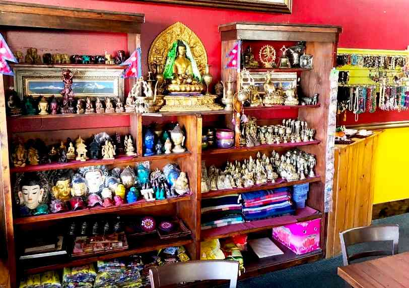 shelves with trinkets