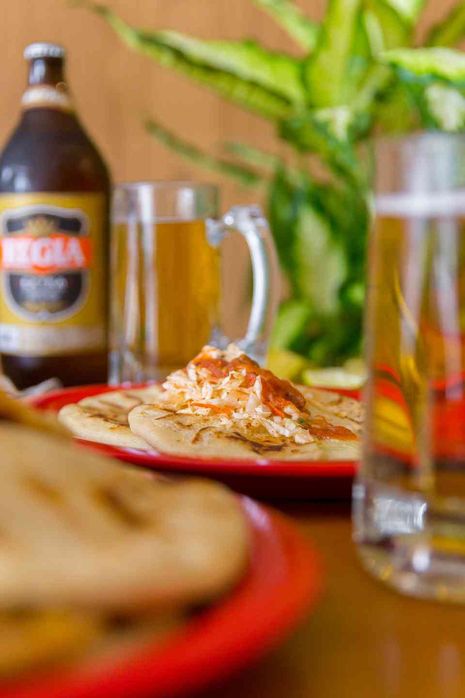 pupusas and beer