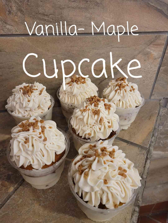 Vanilla- Maple Cupcake Parfait Vanilla - Toffee Frosting