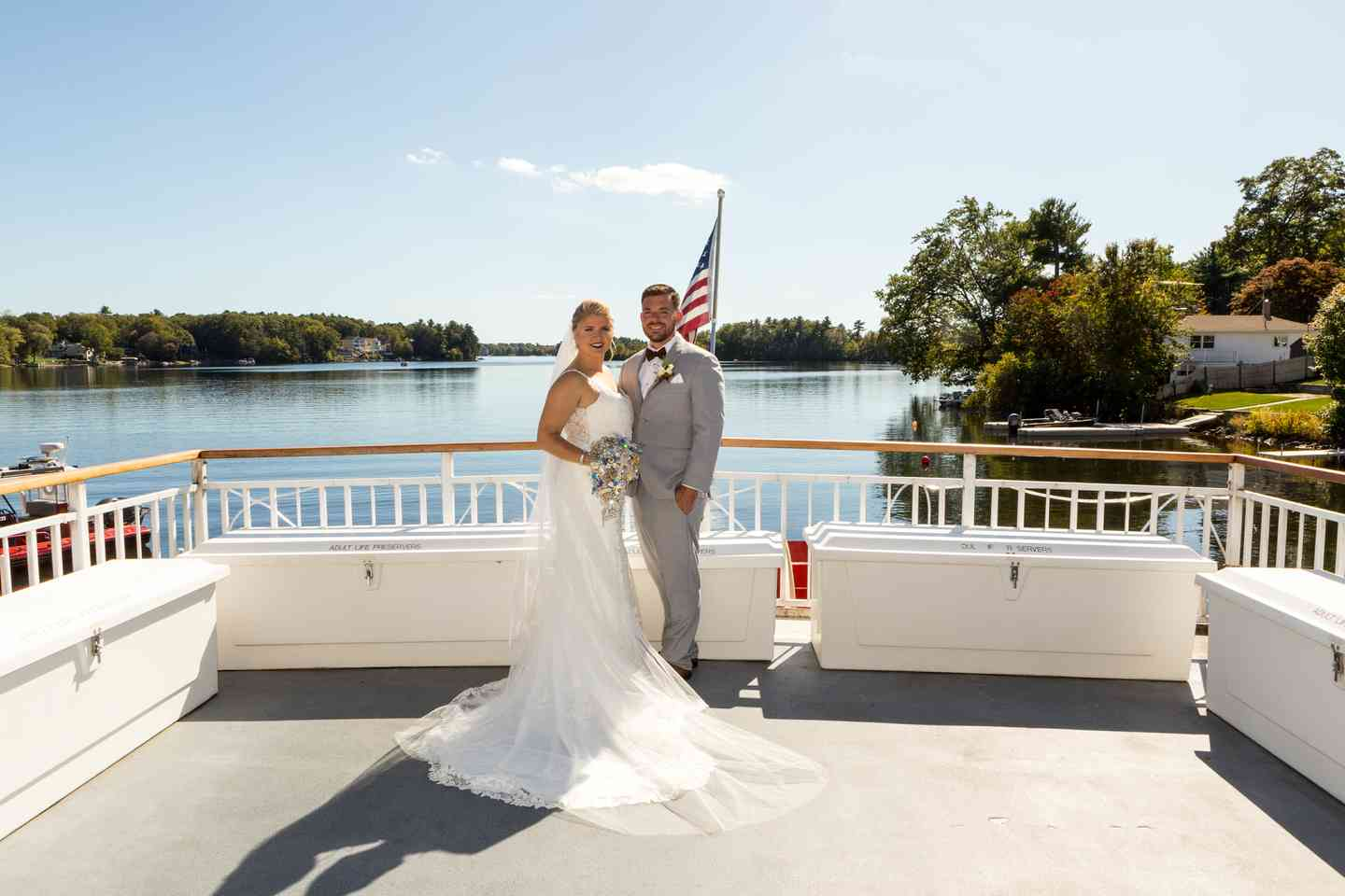 couple posing in boat deck