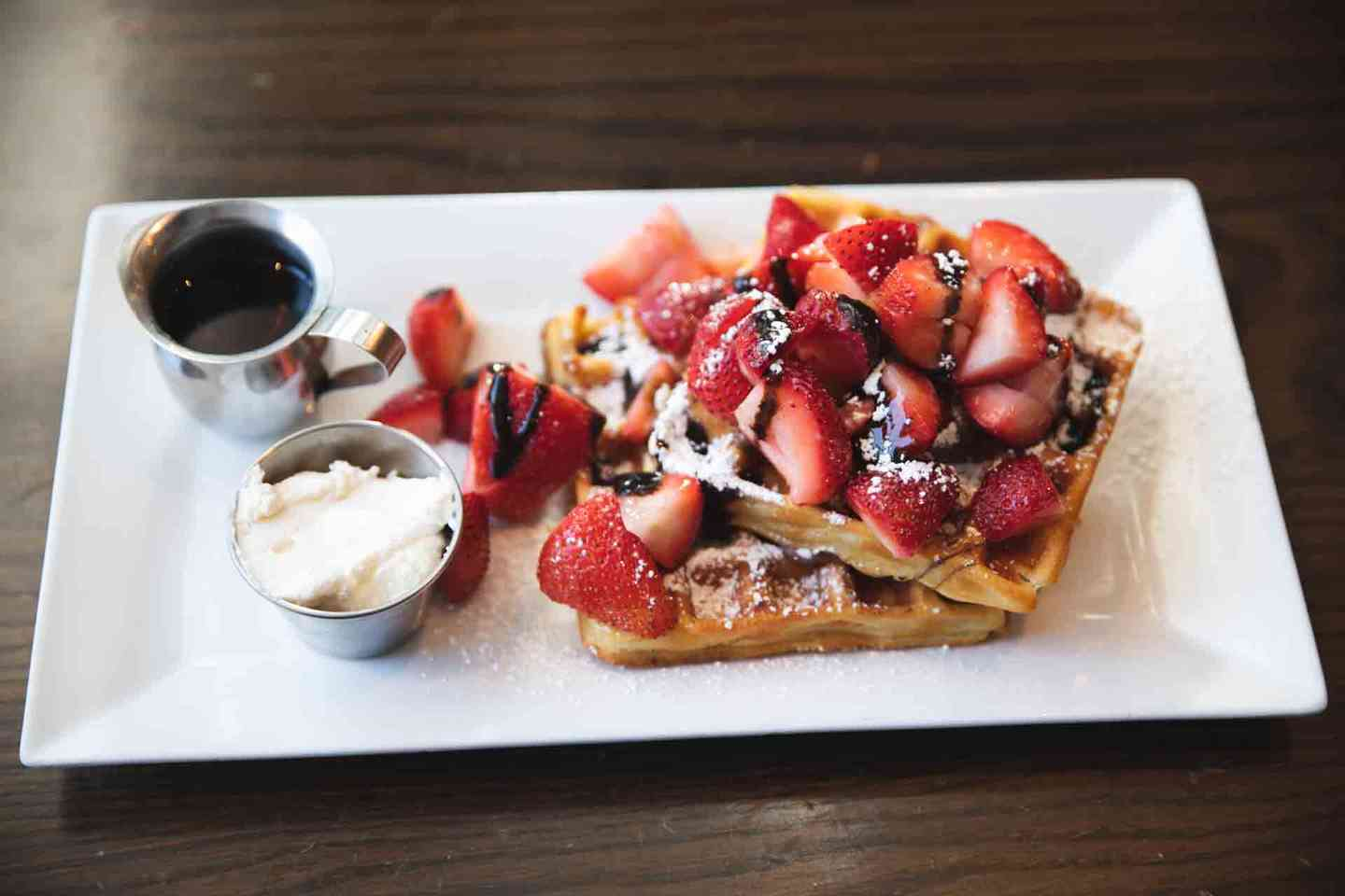Strawberries and Chocolate Waffles