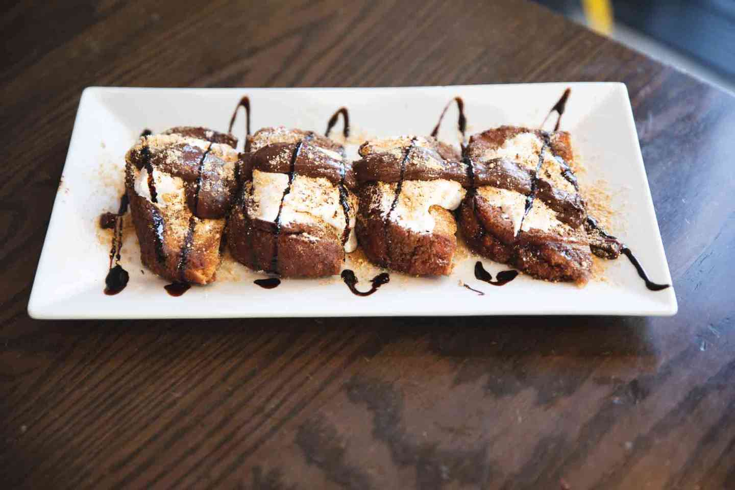 Toasted S'mores with Marshmallow, Chocolate & Graham Cracker Crumbs French Toast