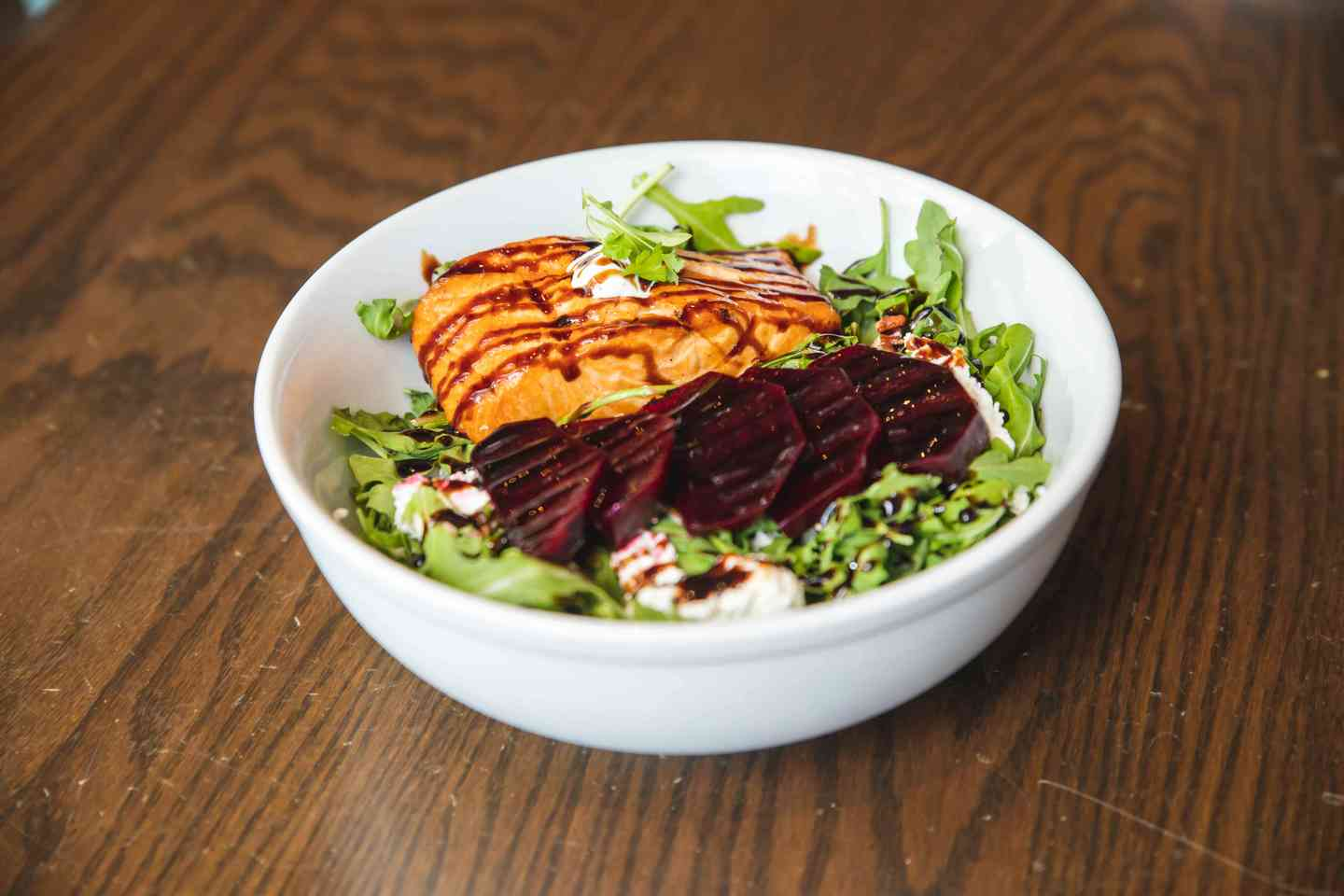 Roasted Beet Salad with Grilled Salmon or Crab Cakes