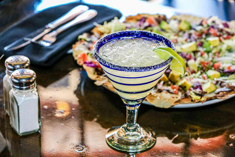 drink and nachos