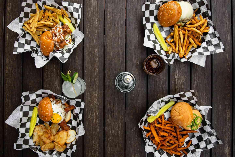 burgers on table