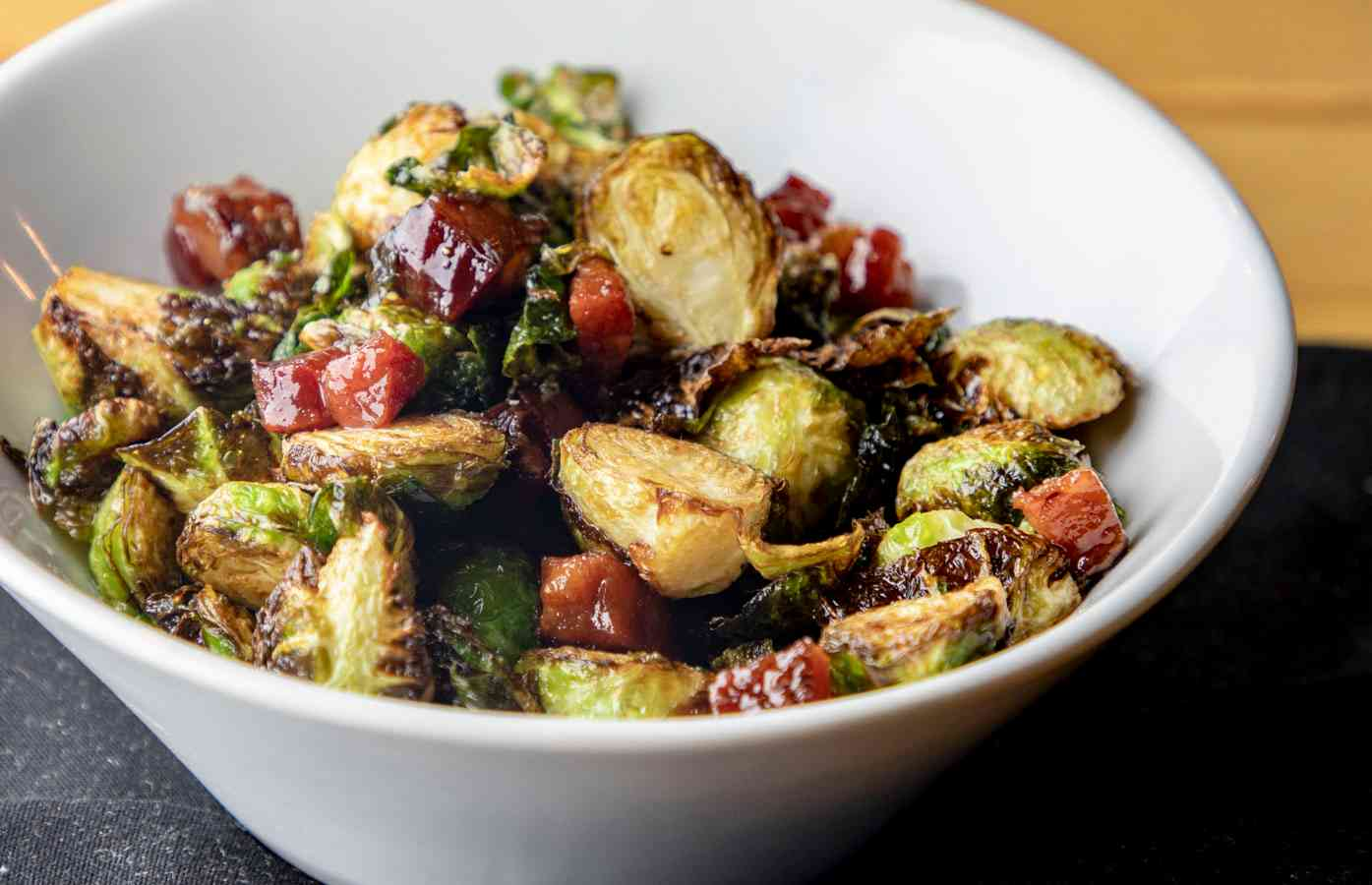 SPICY MAPLE BRUSSELS SPROUTS & BACON