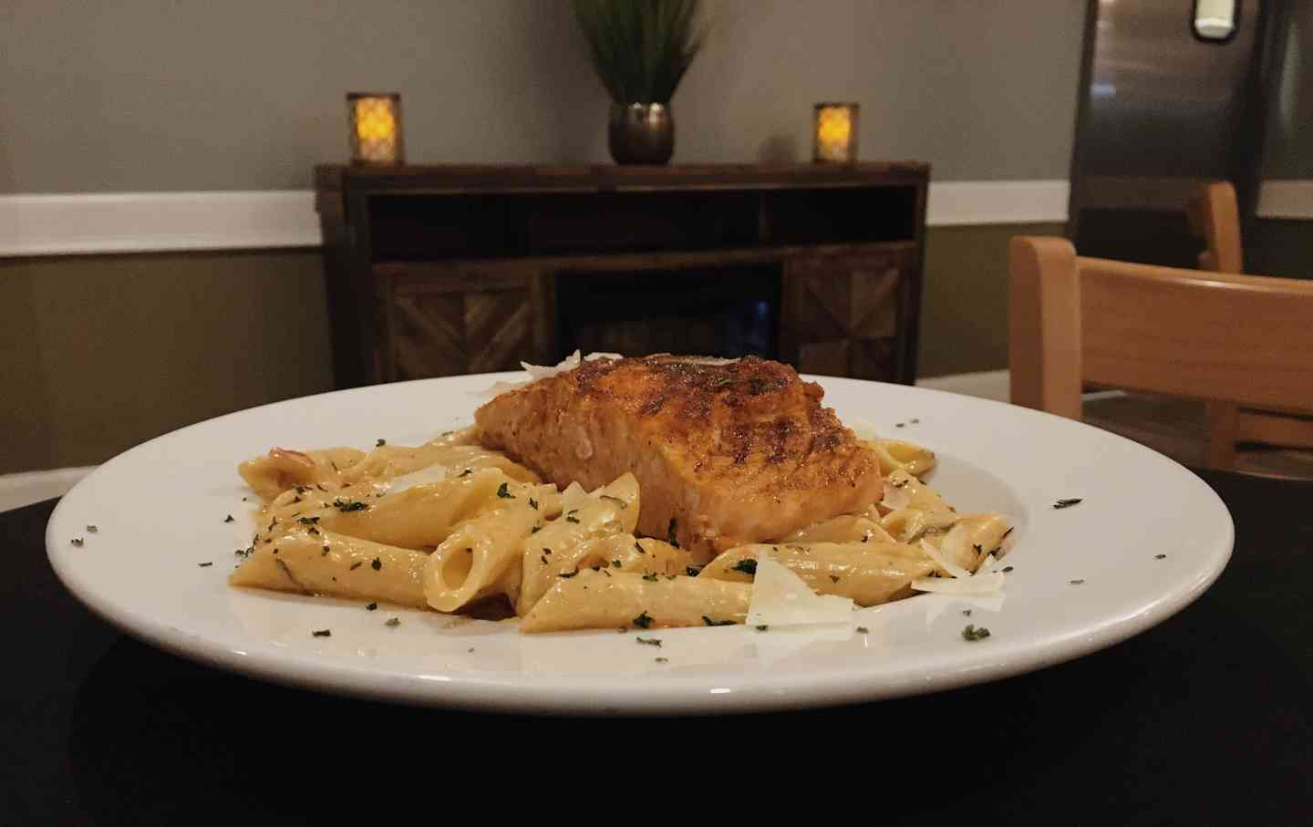 Blackened Salmon Alfredo