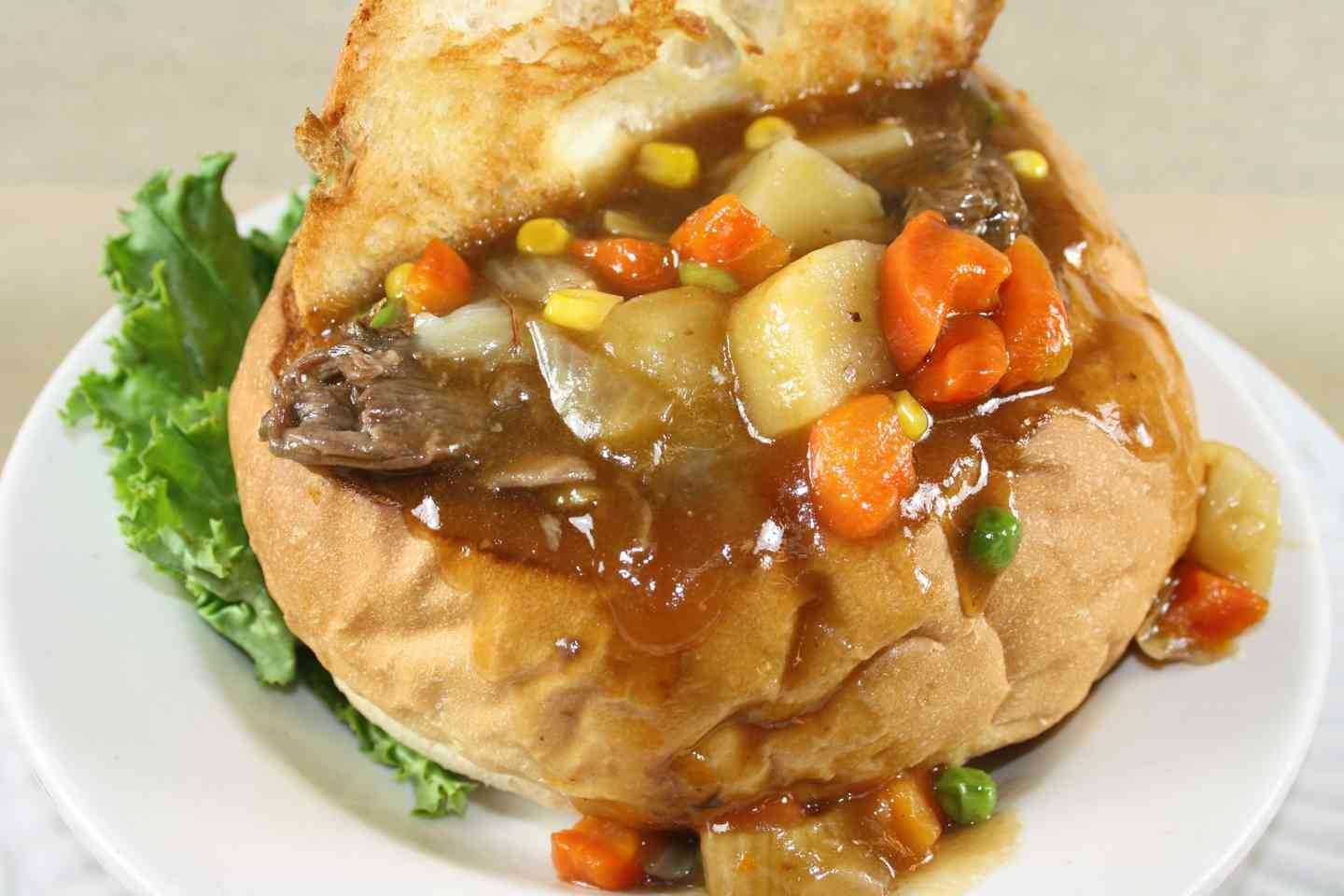 Homemade Beef Stew in Bread Bowl