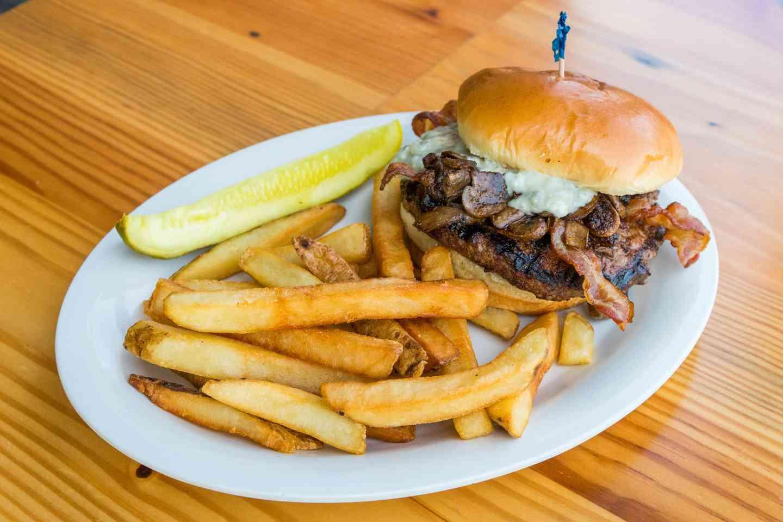 blue shroom burger
