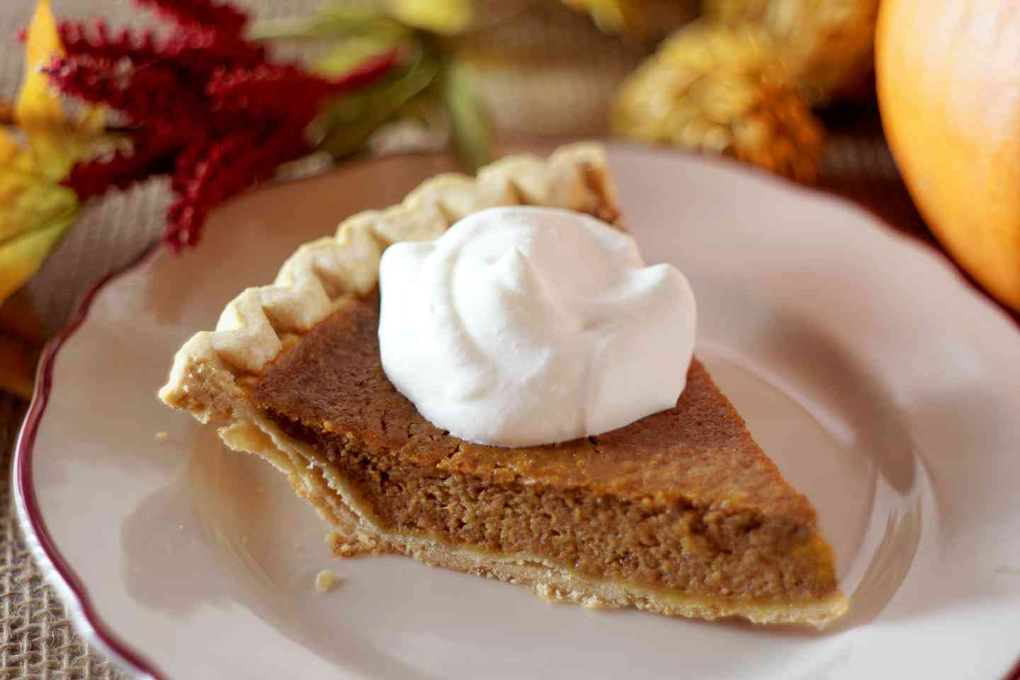 Pumpkin or Apple Pie with Whipped Cream