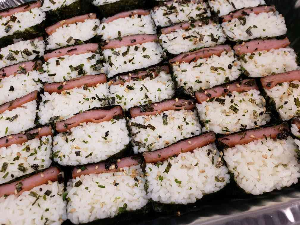 Spam Musubi - 15 cut in half