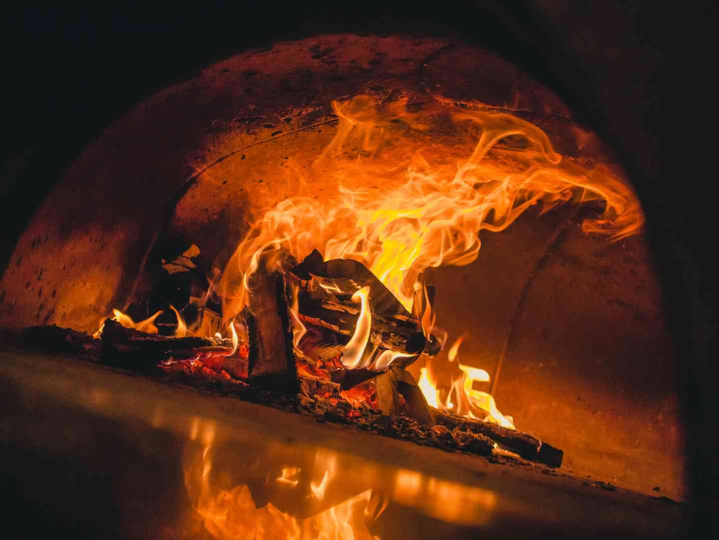Wood burning in oven