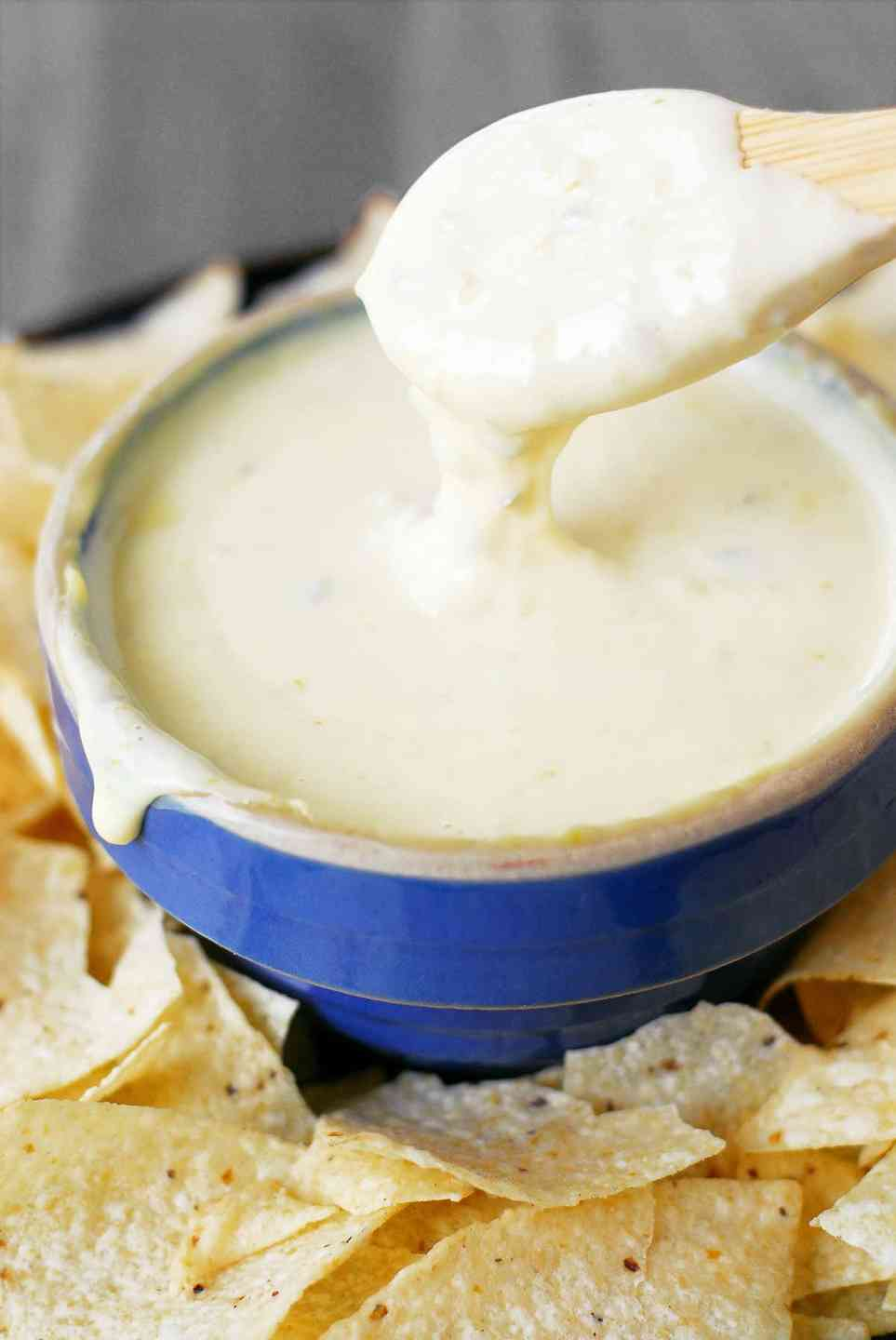 Blue Corn Chips, Queso and Salsa