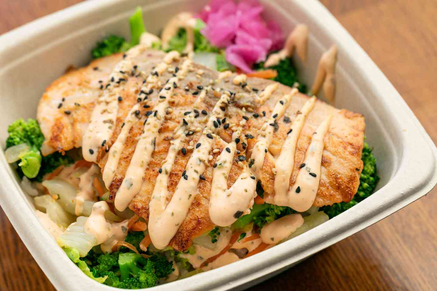 Miso Salmon with Spicy Mayo and Vegetables