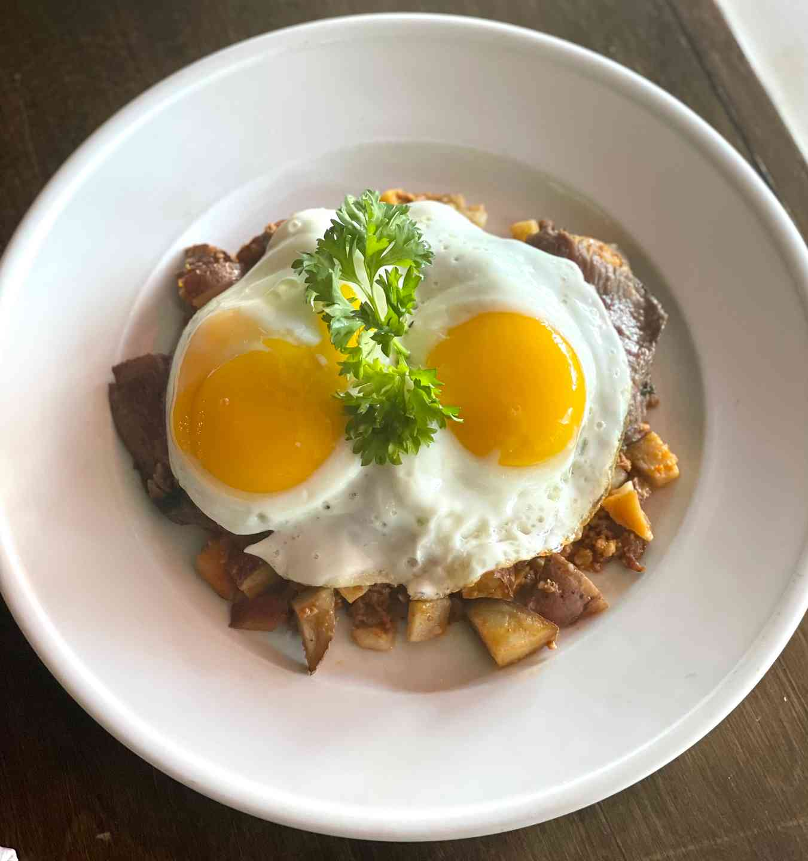 Steak and Eggs over Chorizo Hash