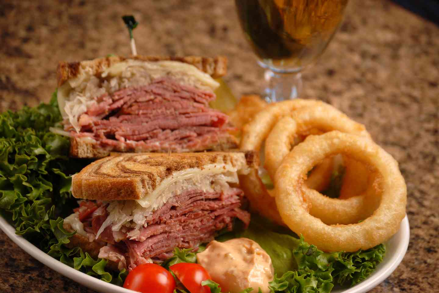 Reuben and hand battered onion rings